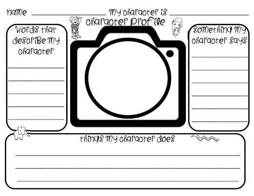 Camera Graphic Organizer For Character Analysis