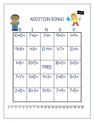 addition bingo adding 1 20. Black Bedroom Furniture Sets. Home Design Ideas