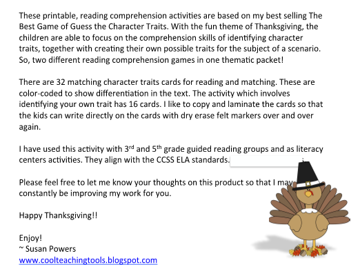 picture about Character Traits Printable titled Thanksgiving Bet the Temperament Characteristics Video game