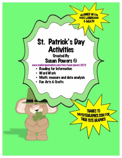 St Patricks Day Literacy Math Activities