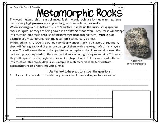 Rocks & Minerals Reading Prehension Passages
