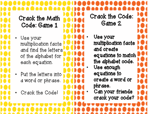 Multiplication Crack the Code Games