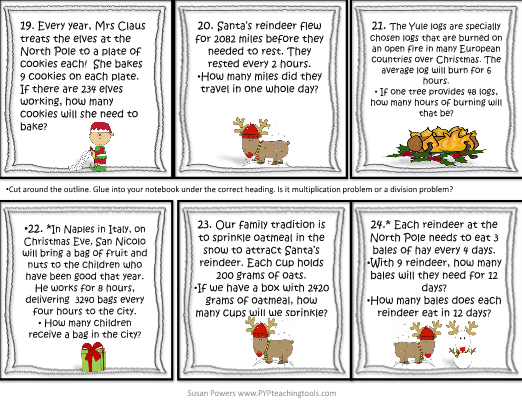 christmas multiplication  u0026 division word problems