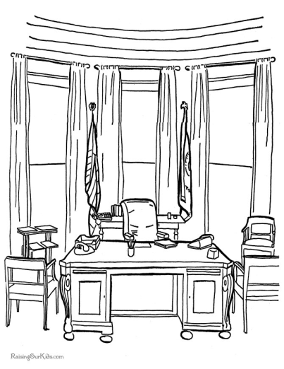 Printable White House Coloring Page Oval Office