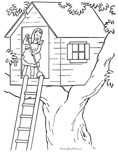 Printable Tree House Coloring Page