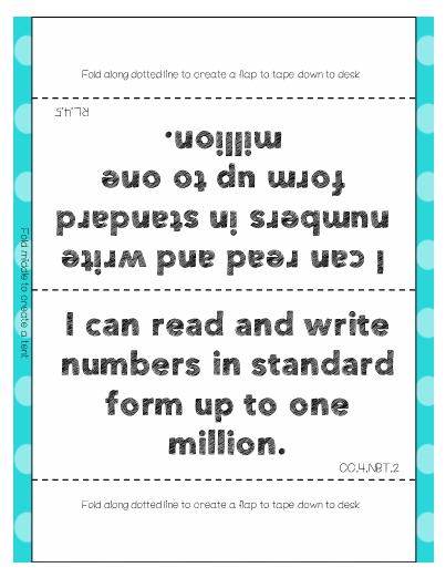 I Can Statement Posters For Desks 4th Grade Math