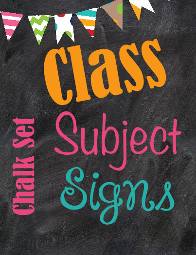 chalkboard theme class subject signs