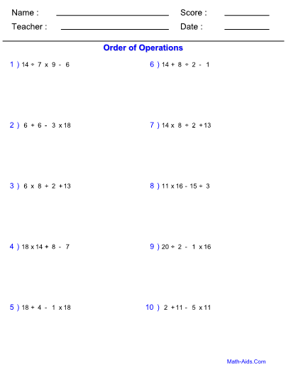 Order Of Operations Easy Worksheet