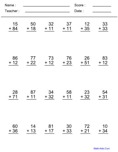 Addend 2 Digit Addition Worksheet