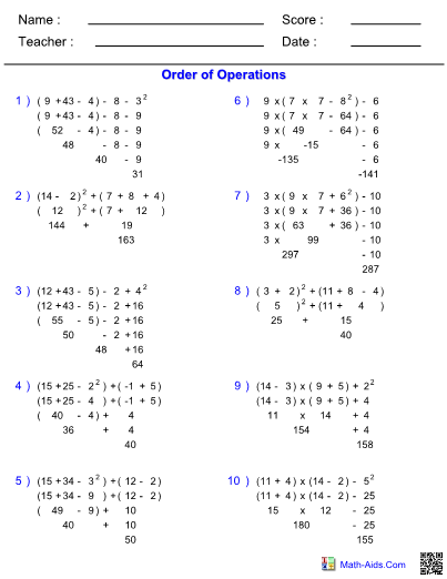 Order Of Operations With Parentheses And Exponents