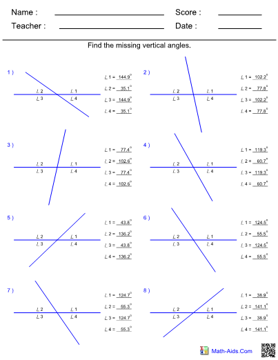 Angles Vertical Worksheet