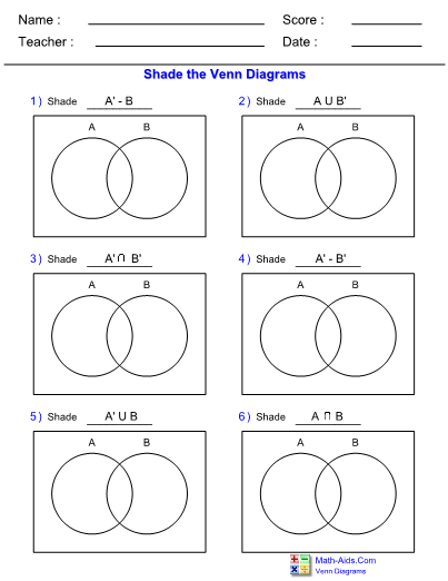 Venn Diagram Complement Standard Two Set Worksheet