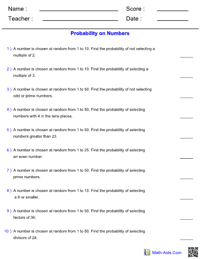 probability worksheets with answer sheet i teachersherpa. Black Bedroom Furniture Sets. Home Design Ideas
