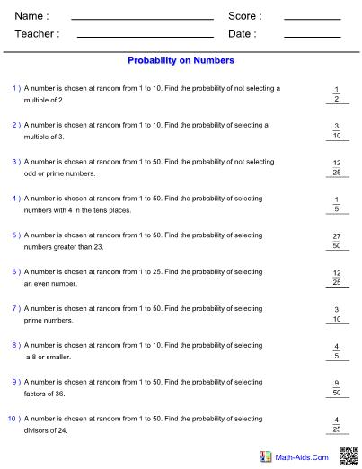 worksheet. Probability On Numbers. Grass Fedjp Worksheet Study Site
