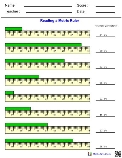 Measurement Metric Ruler Worksheet