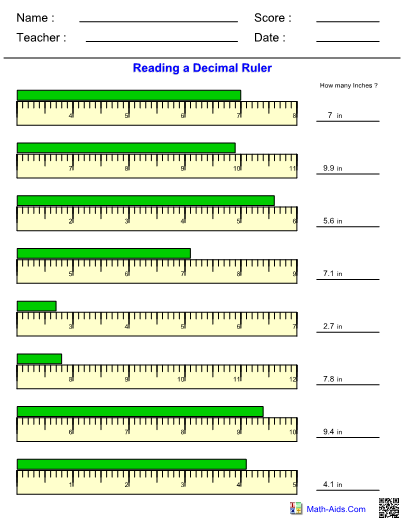 Measurement Decimal Ruler Worksheet