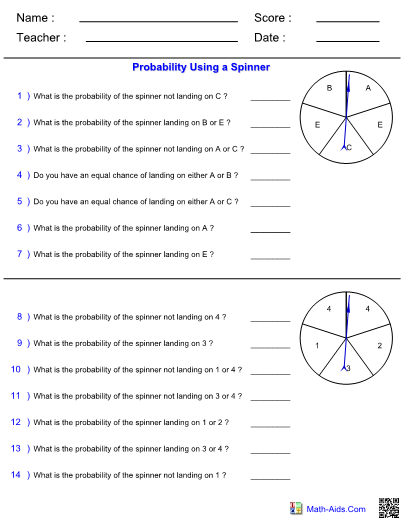 Probability Worksheets With Answer Sheet I TeacherSherpa