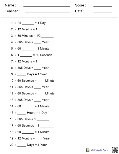 Converting Time Units Worksheet