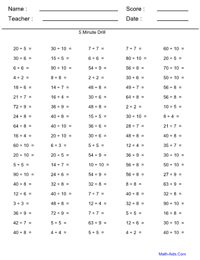 Division Worksheets With Answer Sheet I Teachersherpa