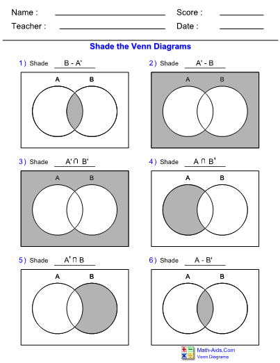 venn diagram complement of two sets worksheet