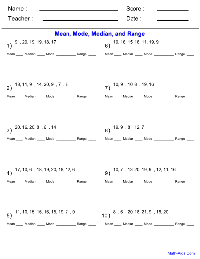 Mean Mode Median Problems Worksheet