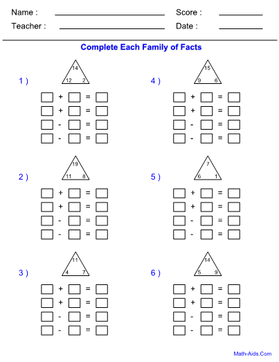 fact family addition subtraction worksheet