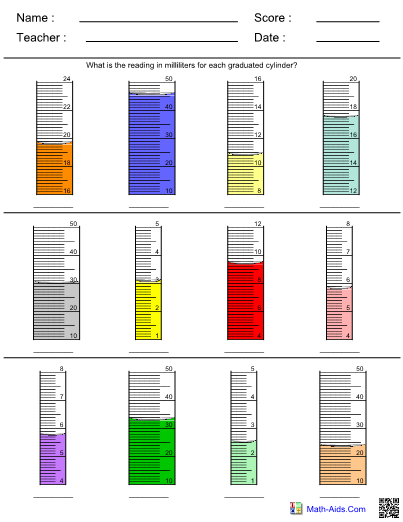 Volume using graduated cylinder worksheet