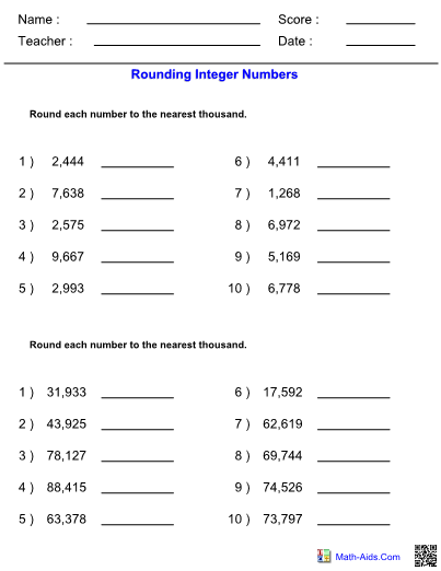 Rounding Integers to Nearest Thousands Worksheet