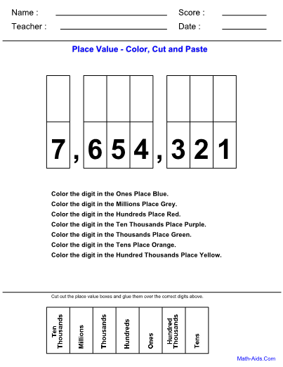 place value color worksheet for kindergarteners. Black Bedroom Furniture Sets. Home Design Ideas