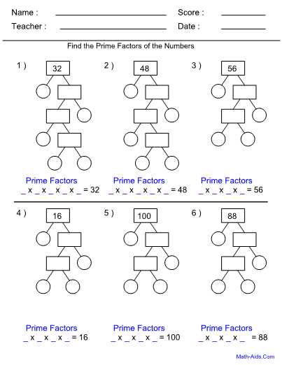 math worksheet : factor worksheets with answer sheet i teachersherpa : Prime Factorization Worksheet