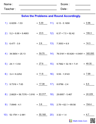 Adding Subtracting Significant Figures Worksheet