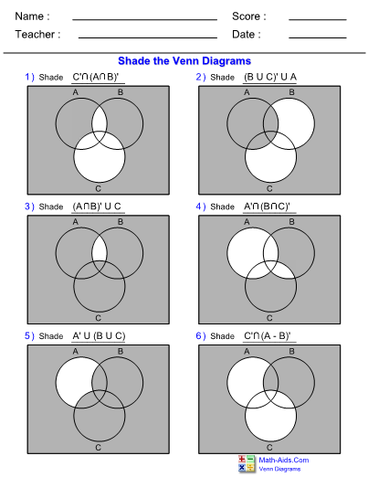 Venn Diagram Complement Of Three Sets Worksheet