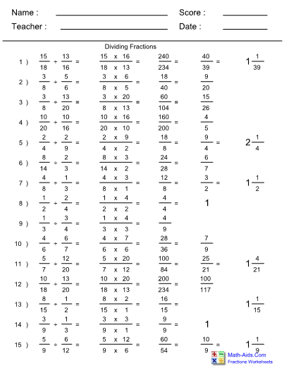 Dividing Fractions Invert Multiply 1 19 Worksheets
