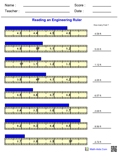 Measurement Engineering Ruler Worksheet