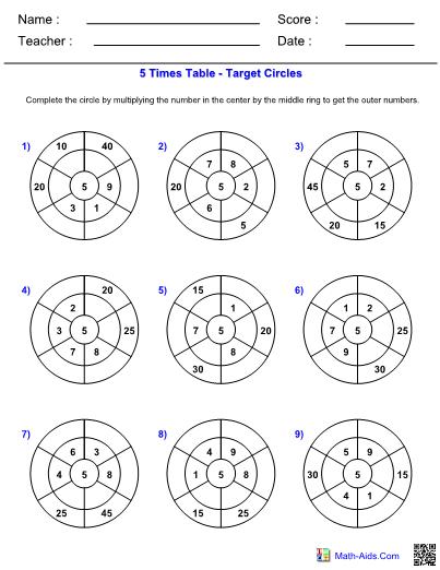Times table target circles worksheets 5 ibookread ePUb