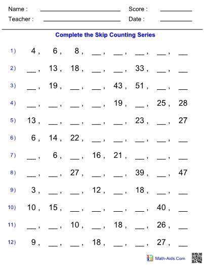 Easy Skip Counting Worksheet