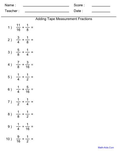 fractions adding tape measure worksheet