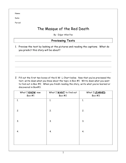 The Masque Of The Red Death Lesson And Key