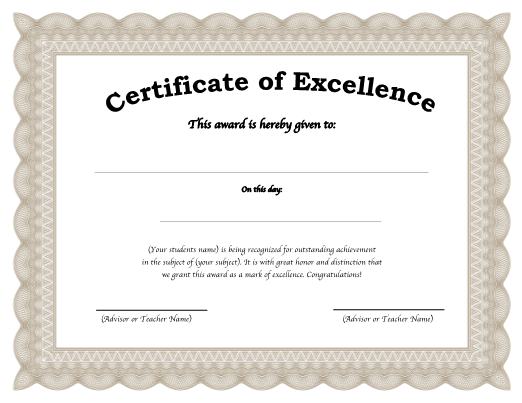 Free Editable Award Or Certificate Template  Award Of Excellence Certificate Template