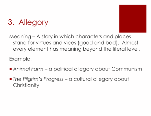 Symbolism and Allegory Powerpoint and Organizers