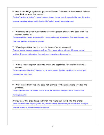 The Lady, or the Tiger? Lesson, Worksheet and Key