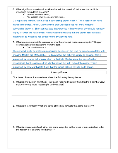 The Scholarship Jacket Lesson, Worksheet and Key