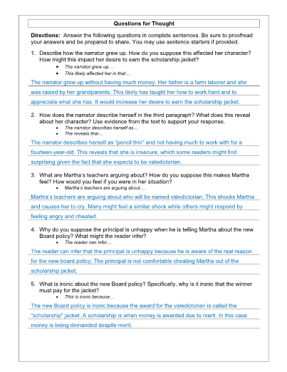 the scholarship jacket lesson  worksheet and key
