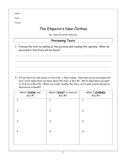 The Emperor's New Clothes Lesson, Questions, Key