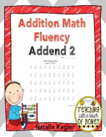Addition Math Fluency Addend Of 2