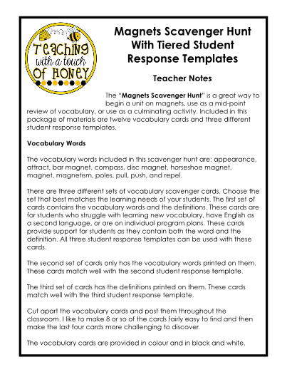 magnets scavenger hunt tiered response templates