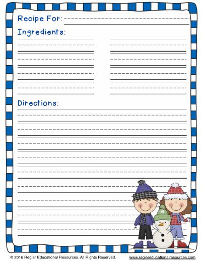 winter recipe writing templates