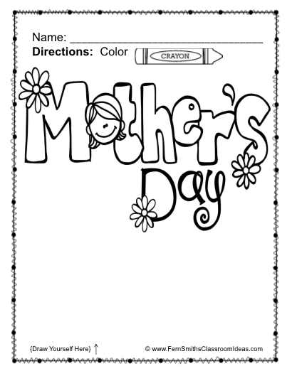 four coloring pages for a mothers day book gift