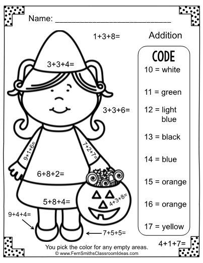 Color By Numbers Halloween Addition Three Addends