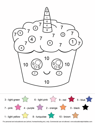 Cute Unicorn Color By Number Pages